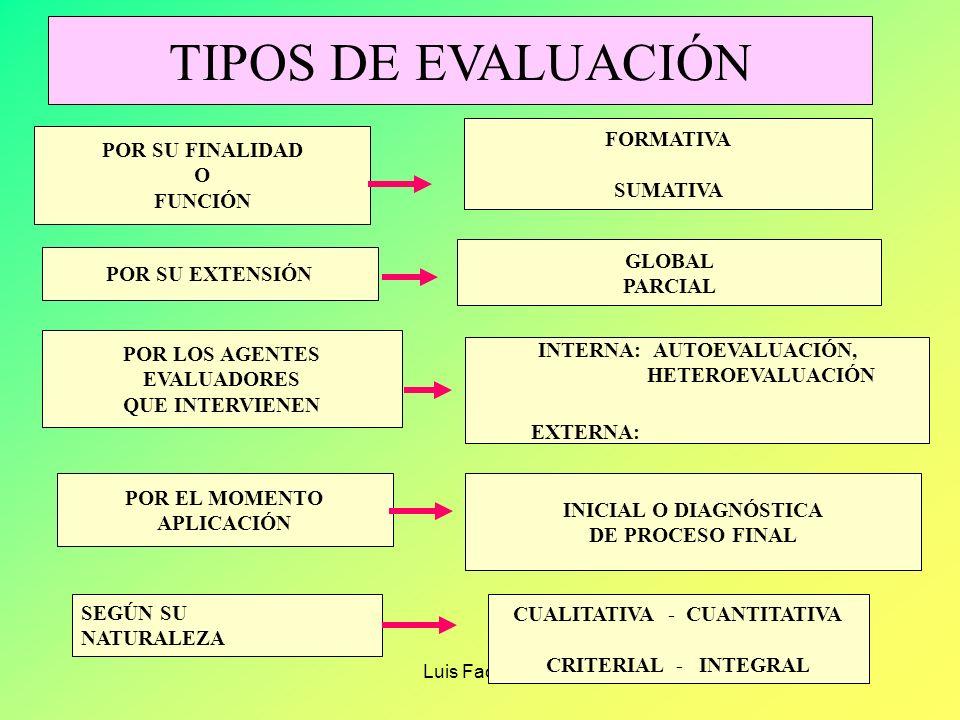 Luis Facundo FASES DE LA EVALUACIÓN 1.- Definición del objeto a evaluar (¿Quién solicita?, ¿Para que Se evalúa?,¿Qué se evalúa?,¿Con que enfoque?) 2.-