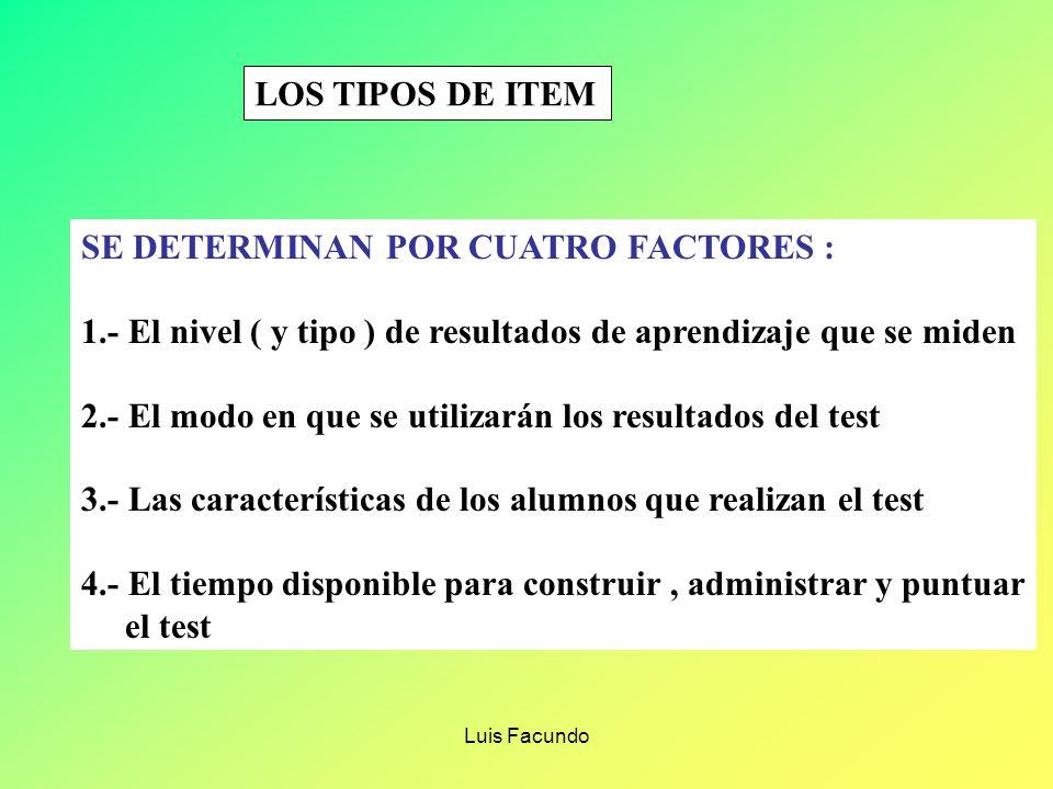 Luis Facundo DETERMINACIÓN DEL FORMATO DE TEST 1.- ¿ QUE TIPO DE ÍTEMS SE DEBEN PROPONER ? 2.- ¿ CÚANTOS ÍTEMS SE DEBEN PROPONER ? 3.- ¿ QUE DIFICULTA