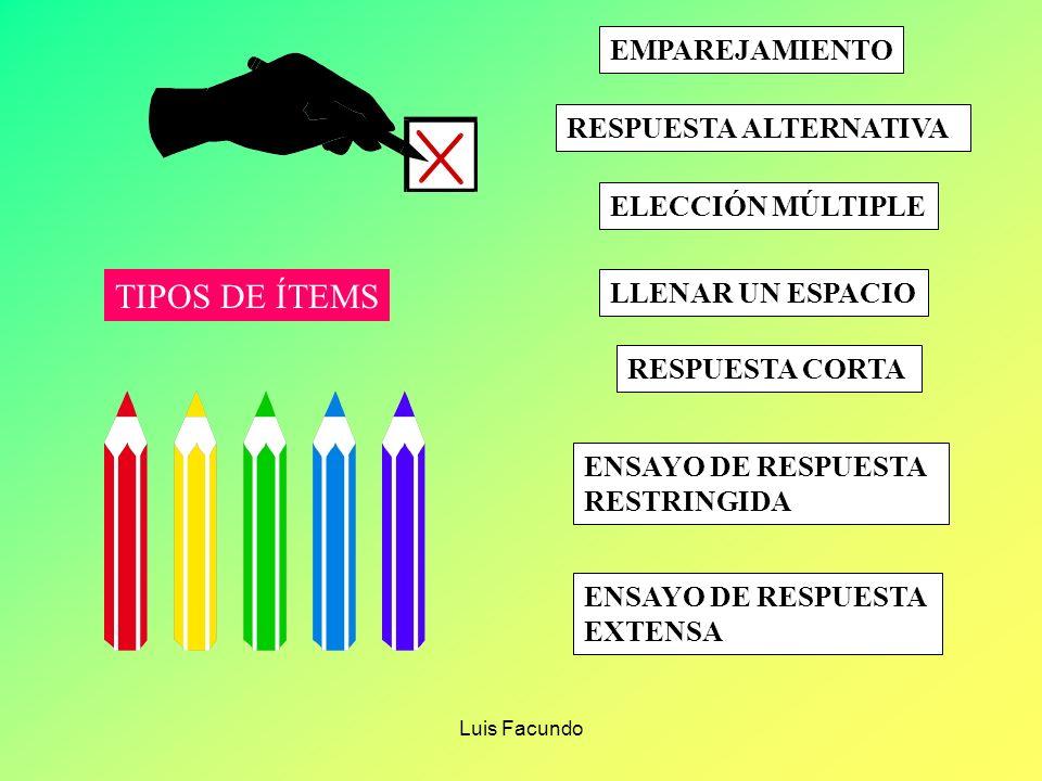 Luis Facundo LOS TIPOS DE ITEM SE DETERMINAN POR CUATRO FACTORES : 1.- El nivel ( y tipo ) de resultados de aprendizaje que se miden 2.- El modo en qu