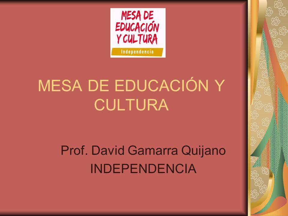 MESA DE EDUCACIÓN Y CULTURA Prof. David Gamarra Quijano INDEPENDENCIA