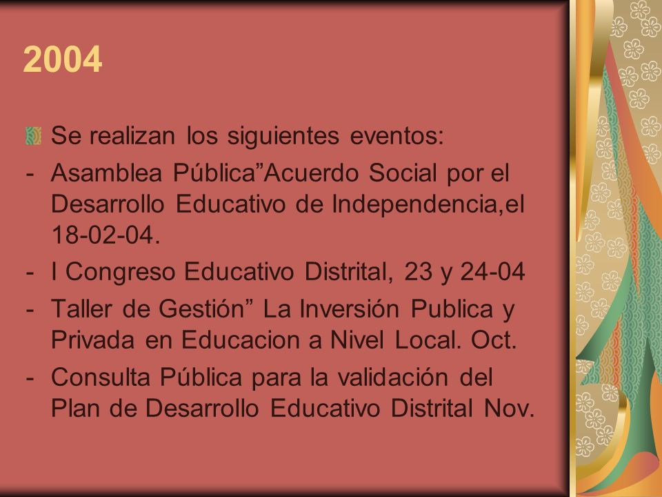 2004 Se realizan los siguientes eventos: -Asamblea PúblicaAcuerdo Social por el Desarrollo Educativo de Independencia,el 18-02-04. -I Congreso Educati