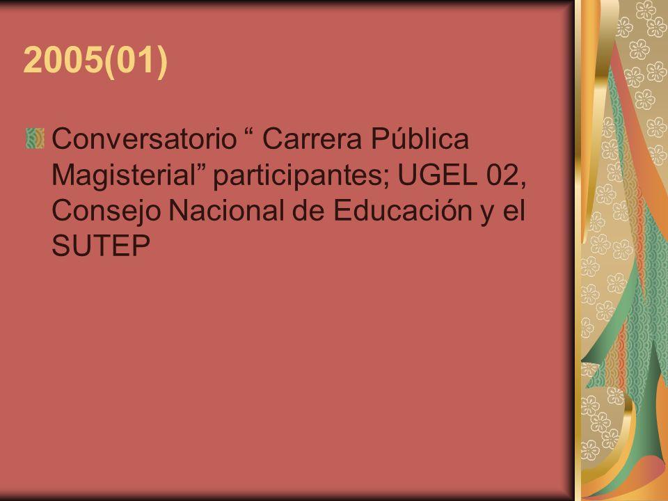 2005(01) Conversatorio Carrera Pública Magisterial participantes; UGEL 02, Consejo Nacional de Educación y el SUTEP