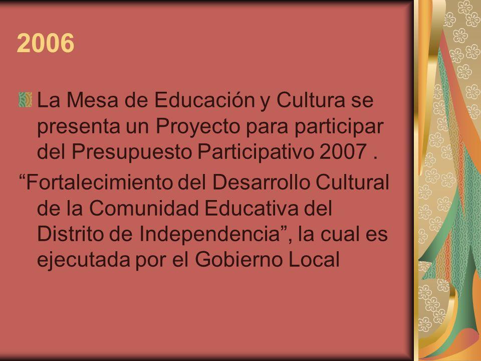 2006 La Mesa de Educación y Cultura se presenta un Proyecto para participar del Presupuesto Participativo 2007. Fortalecimiento del Desarrollo Cultura