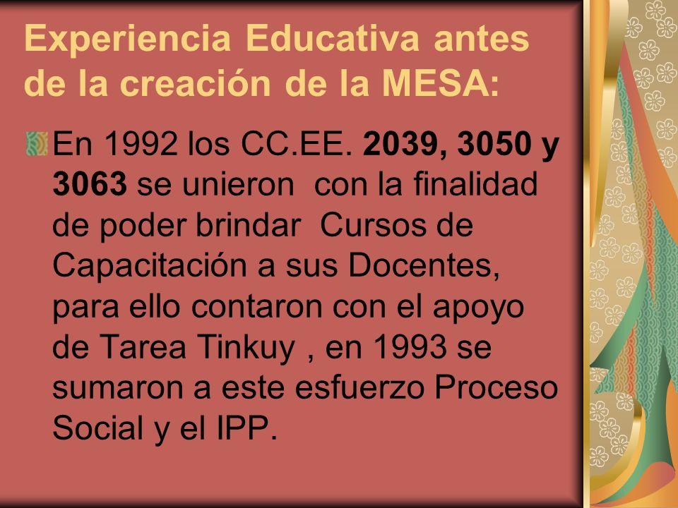 Experiencia Educativa antes de la creación de la MESA: En 1992 los CC.EE. 2039, 3050 y 3063 se unieron con la finalidad de poder brindar Cursos de Cap