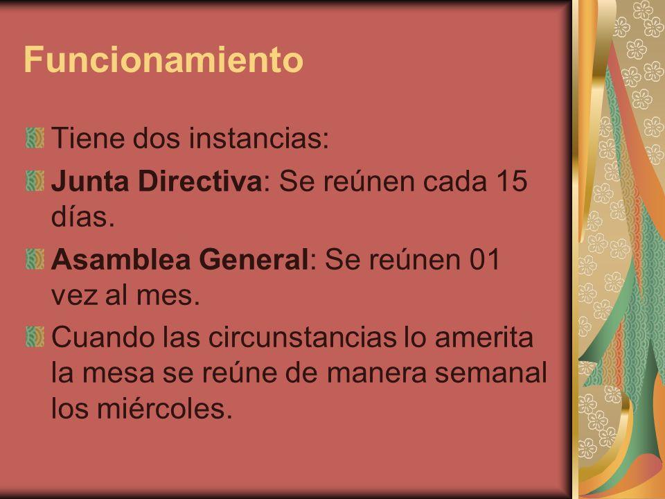 Funcionamiento Tiene dos instancias: Junta Directiva: Se reúnen cada 15 días. Asamblea General: Se reúnen 01 vez al mes. Cuando las circunstancias lo