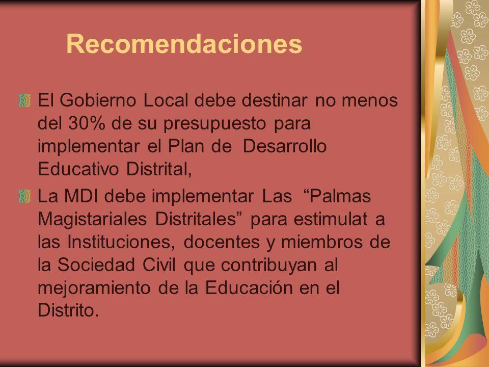 Recomendaciones El Gobierno Local debe destinar no menos del 30% de su presupuesto para implementar el Plan de Desarrollo Educativo Distrital, La MDI