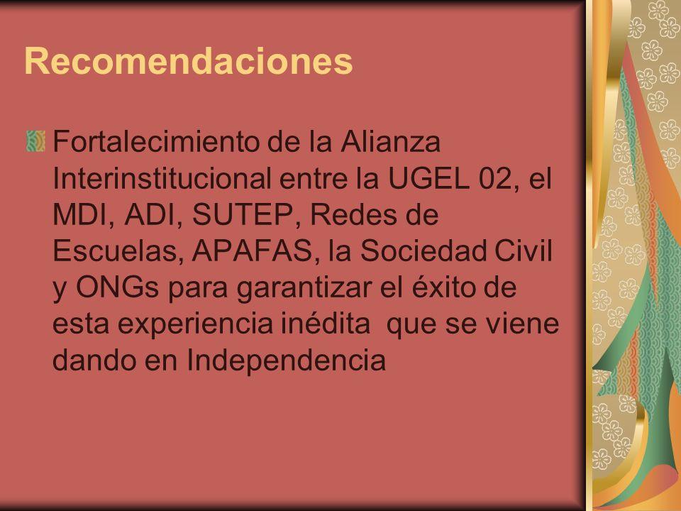Recomendaciones Fortalecimiento de la Alianza Interinstitucional entre la UGEL 02, el MDI, ADI, SUTEP, Redes de Escuelas, APAFAS, la Sociedad Civil y