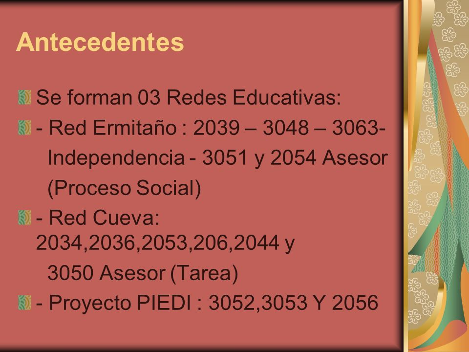 Antecedentes Se forman 03 Redes Educativas: - Red Ermitaño : 2039 – 3048 – 3063- Independencia - 3051 y 2054 Asesor (Proceso Social) - Red Cueva: 2034
