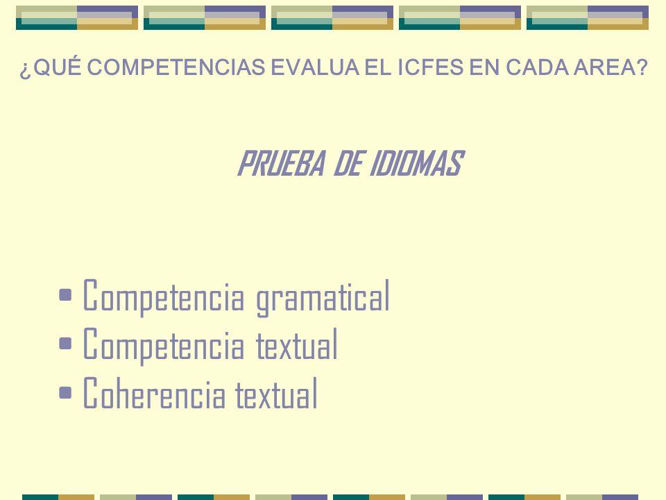 Competencia gramatical Competencia textual Coherencia textual ¿QUÉ COMPETENCIAS EVALUA EL ICFES EN CADA AREA.
