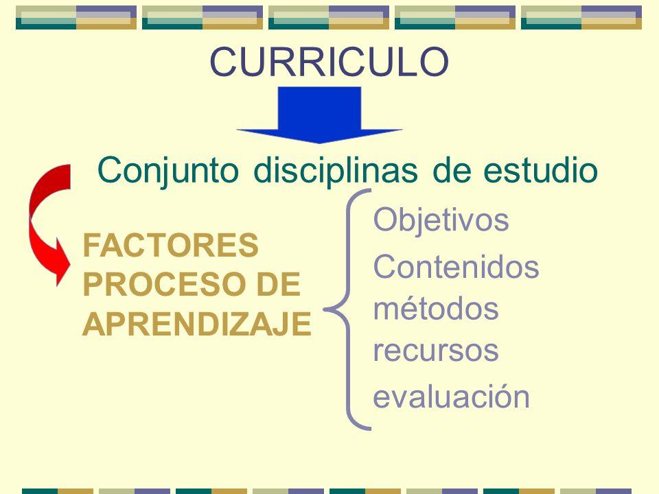 CURRICULO Conjunto disciplinas de estudio FACTORES PROCESO DE APRENDIZAJE Objetivos Contenidos métodos recursos evaluación