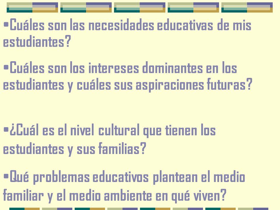 Cuáles son las necesidades educativas de mis estudiantes.