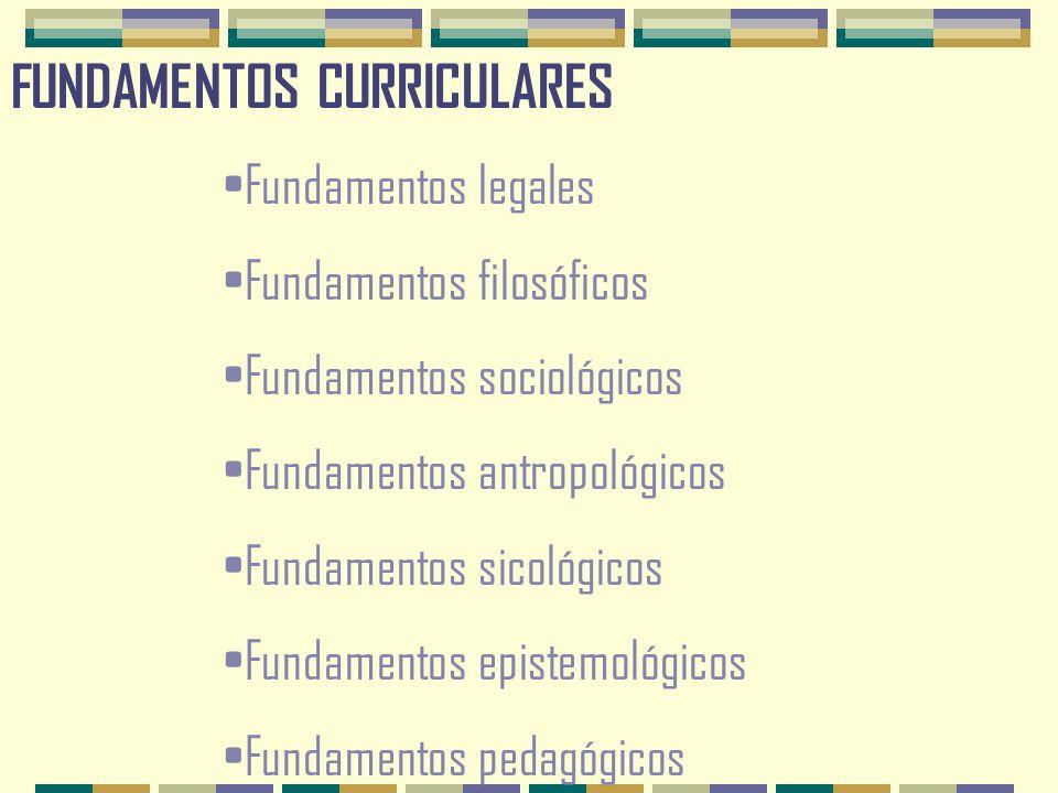 FUNDAMENTOS CURRICULARES Fundamentos legales Fundamentos filosóficos Fundamentos sociológicos Fundamentos antropológicos Fundamentos sicológicos Fundamentos epistemológicos Fundamentos pedagógicos