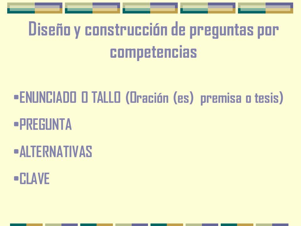 Diseño y construcción de preguntas por competencias ENUNCIADO O TALLO (Oración (es) premisa o tesis) PREGUNTA ALTERNATIVAS CLAVE