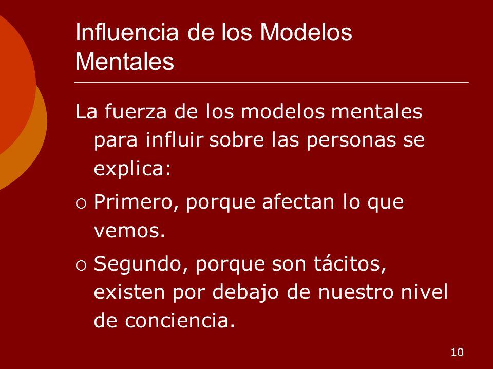 10 Influencia de los Modelos Mentales La fuerza de los modelos mentales para influir sobre las personas se explica: Primero, porque afectan lo que vem