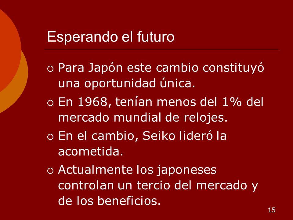 15 Esperando el futuro Para Japón este cambio constituyó una oportunidad única. En 1968, tenían menos del 1% del mercado mundial de relojes. En el cam