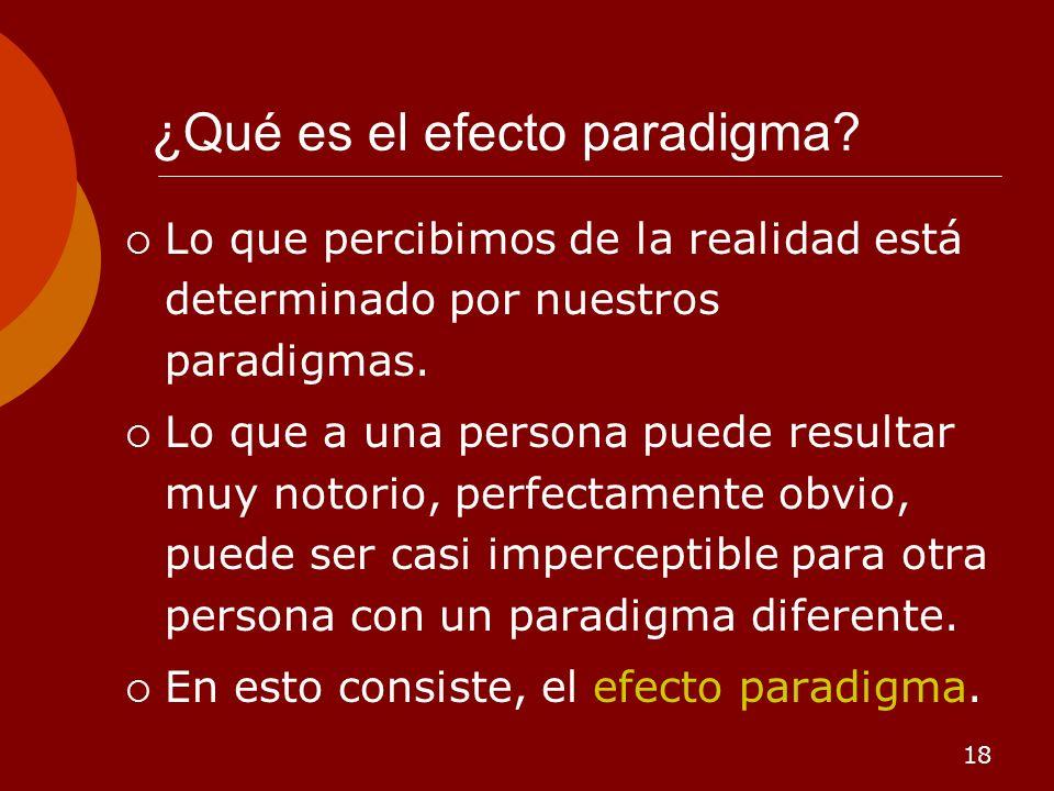 18 ¿Qué es el efecto paradigma? Lo que percibimos de la realidad está determinado por nuestros paradigmas. Lo que a una persona puede resultar muy not