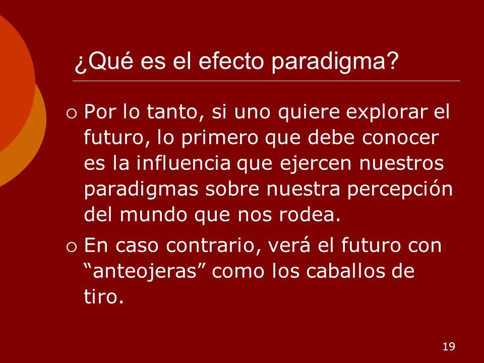 19 ¿Qué es el efecto paradigma? Por lo tanto, si uno quiere explorar el futuro, lo primero que debe conocer es la influencia que ejercen nuestros para
