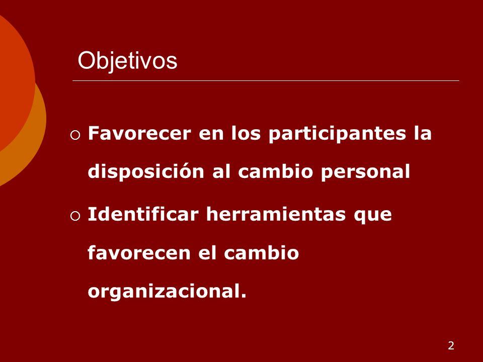 2 Objetivos Favorecer en los participantes la disposición al cambio personal Identificar herramientas que favorecen el cambio organizacional.