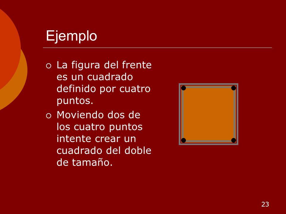 23 Ejemplo La figura del frente es un cuadrado definido por cuatro puntos. Moviendo dos de los cuatro puntos intente crear un cuadrado del doble de ta