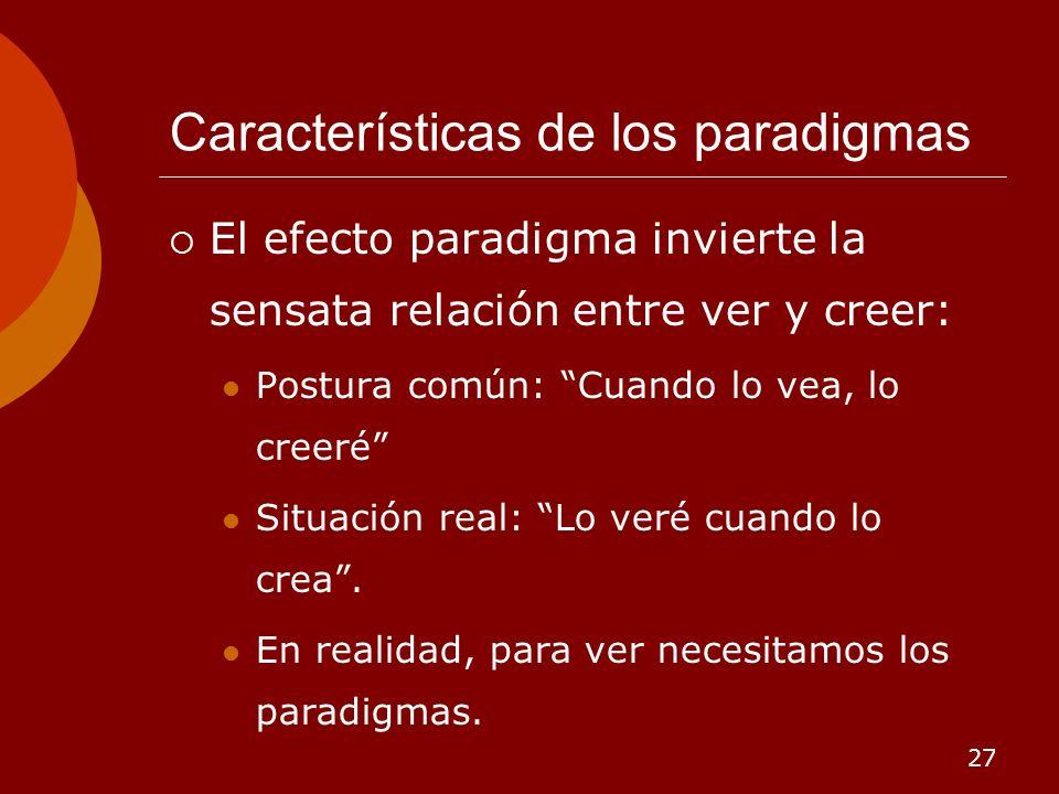 27 Características de los paradigmas El efecto paradigma invierte la sensata relación entre ver y creer: Postura común: Cuando lo vea, lo creeré Situa