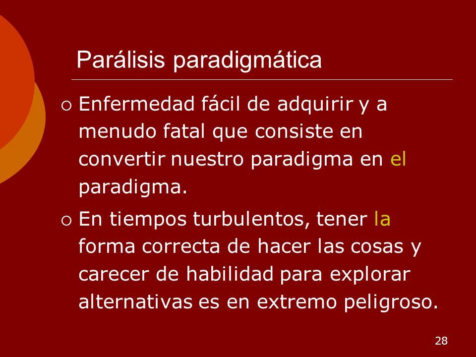 28 Parálisis paradigmática Enfermedad fácil de adquirir y a menudo fatal que consiste en convertir nuestro paradigma en el paradigma. En tiempos turbu