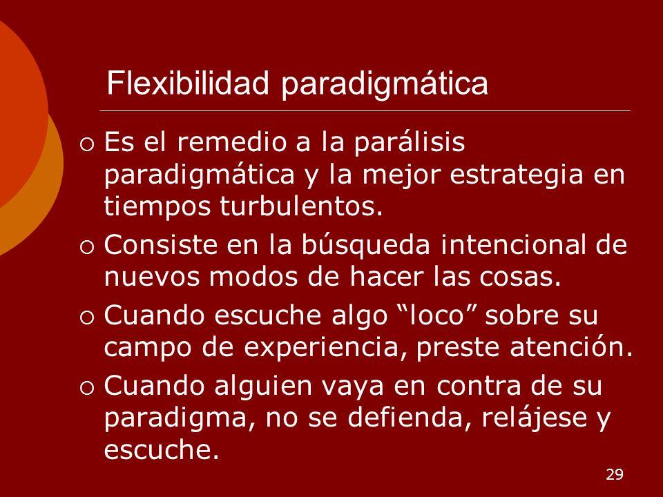 29 Flexibilidad paradigmática Es el remedio a la parálisis paradigmática y la mejor estrategia en tiempos turbulentos. Consiste en la búsqueda intenci