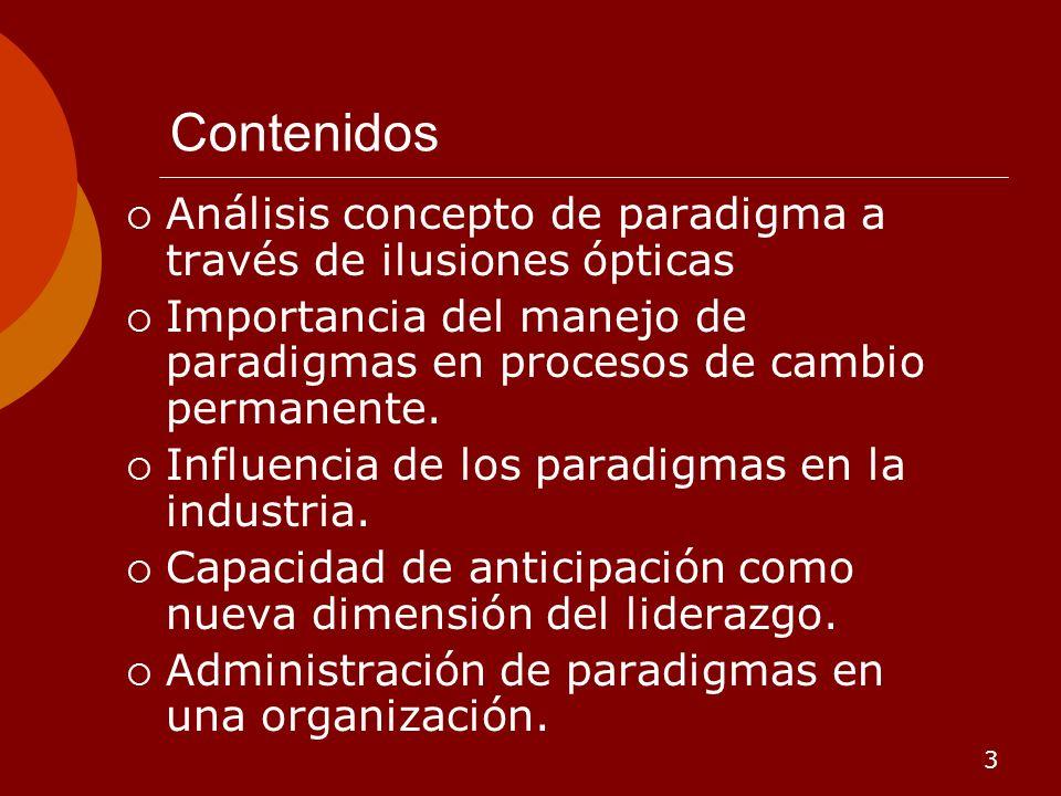 3 Contenidos Análisis concepto de paradigma a través de ilusiones ópticas Importancia del manejo de paradigmas en procesos de cambio permanente. Influ