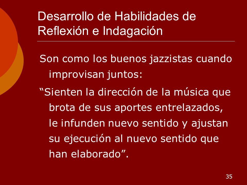 35 Desarrollo de Habilidades de Reflexión e Indagación Son como los buenos jazzistas cuando improvisan juntos: Sienten la dirección de la música que b
