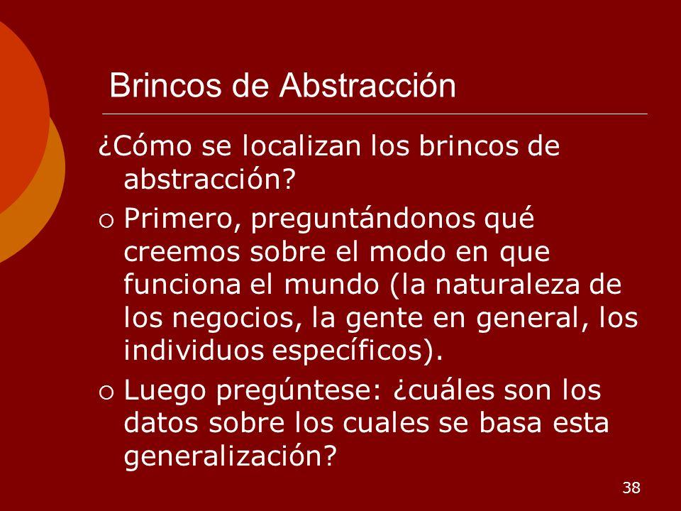 38 Brincos de Abstracción ¿Cómo se localizan los brincos de abstracción? Primero, preguntándonos qué creemos sobre el modo en que funciona el mundo (l