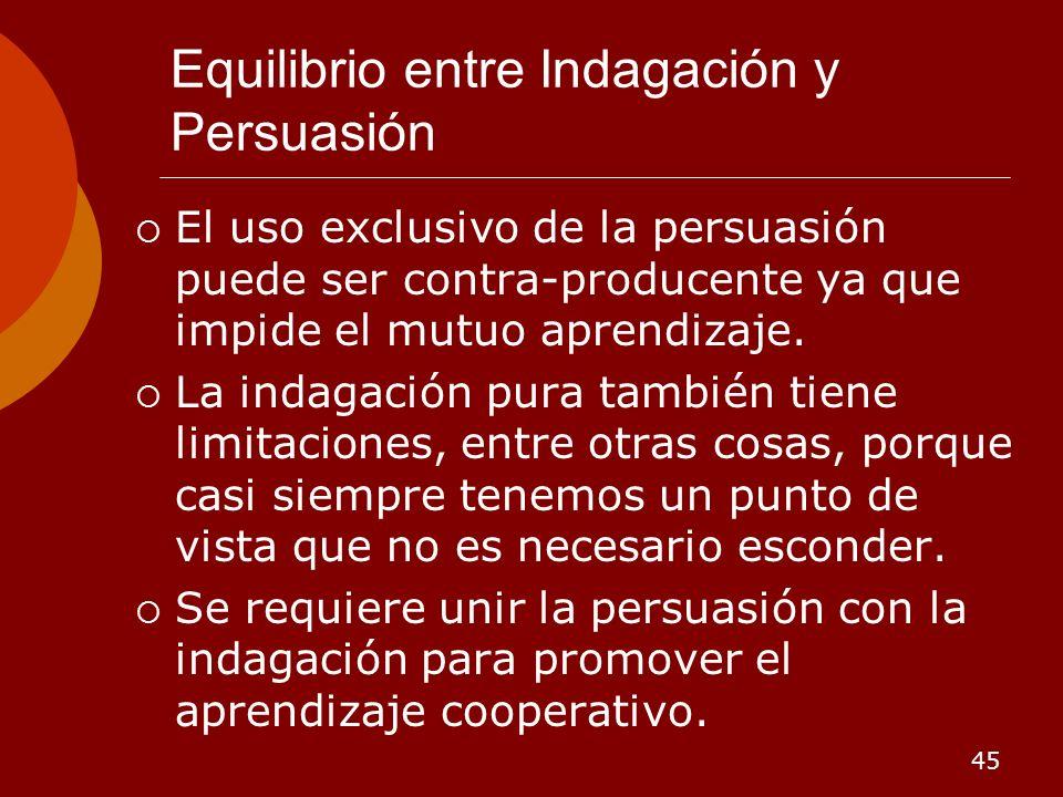 45 Equilibrio entre Indagación y Persuasión El uso exclusivo de la persuasión puede ser contra-producente ya que impide el mutuo aprendizaje. La indag