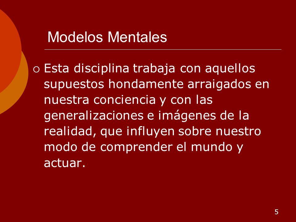5 Modelos Mentales Esta disciplina trabaja con aquellos supuestos hondamente arraigados en nuestra conciencia y con las generalizaciones e imágenes de