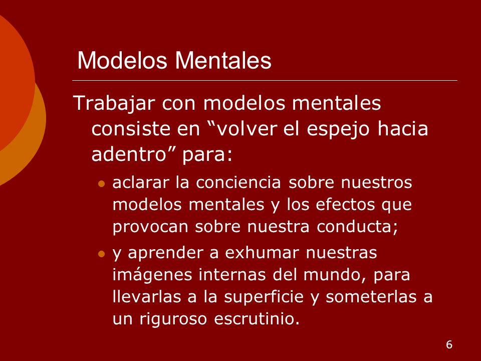 6 Modelos Mentales Trabajar con modelos mentales consiste en volver el espejo hacia adentro para: aclarar la conciencia sobre nuestros modelos mentale