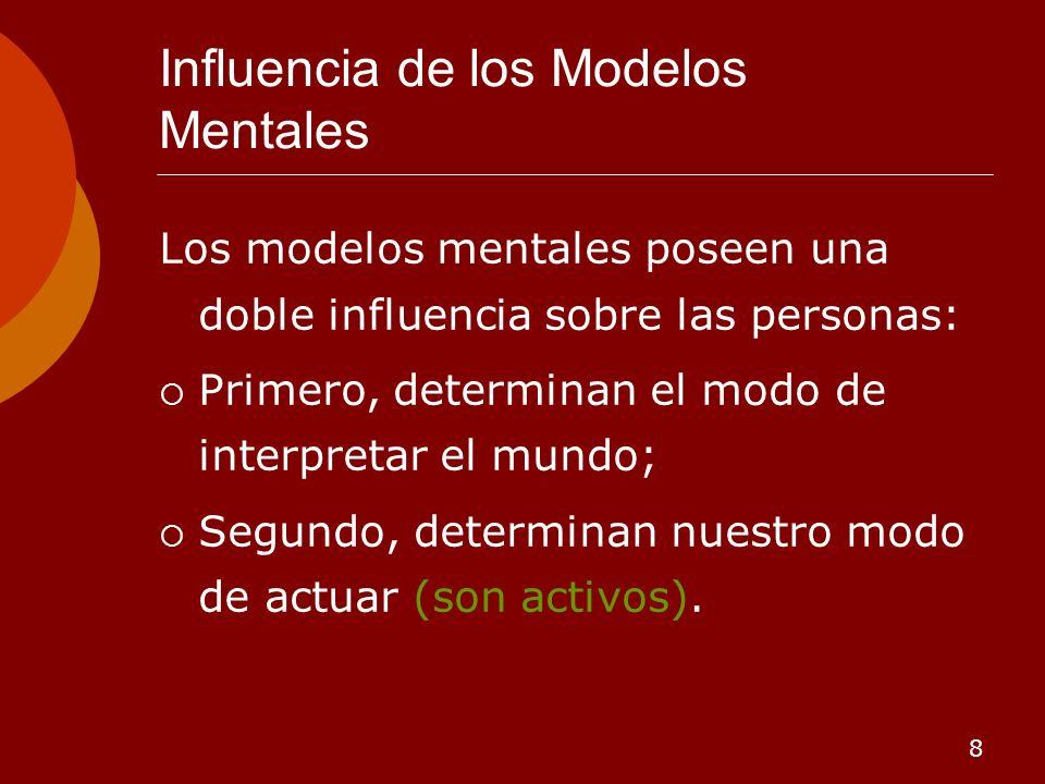 8 Influencia de los Modelos Mentales Los modelos mentales poseen una doble influencia sobre las personas: Primero, determinan el modo de interpretar e