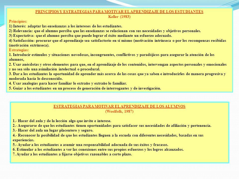 PRINCIPIOS Y ESTRATEGIAS PARA MOTIVAR EL APRENDIZAJE DE LOS ESTUDIANTES Keller (1983) Principios: 1) Interés: adaptar las enseñanzas a los intereses d