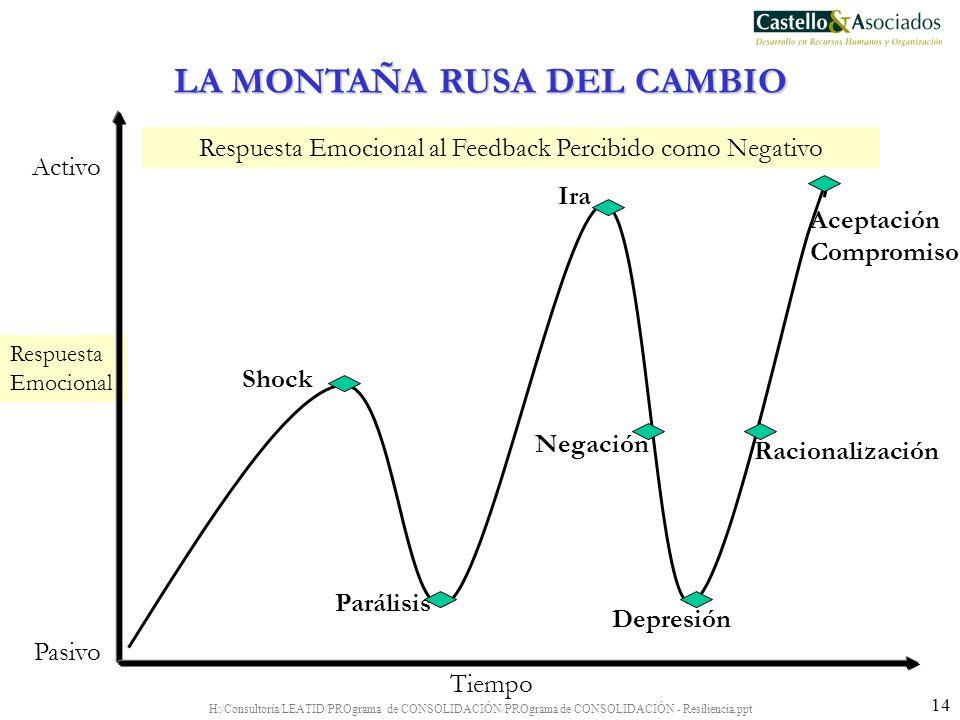 H:/Consultoría/LEATID/PROgrama de CONSOLIDACIÓN/PROgrama de CONSOLIDACIÓN - Resiliencia.ppt 14 Respuesta Emocional Respuesta Emocional al Feedback Per