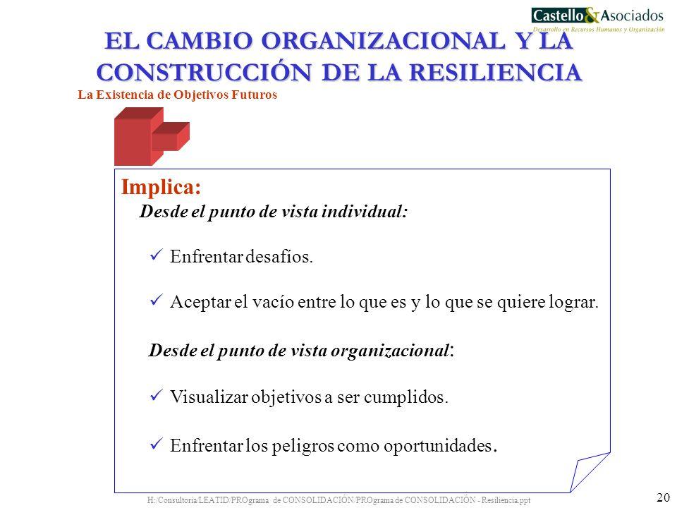 H:/Consultoría/LEATID/PROgrama de CONSOLIDACIÓN/PROgrama de CONSOLIDACIÓN - Resiliencia.ppt 20 La Existencia de Objetivos Futuros Implica: Desde el pu