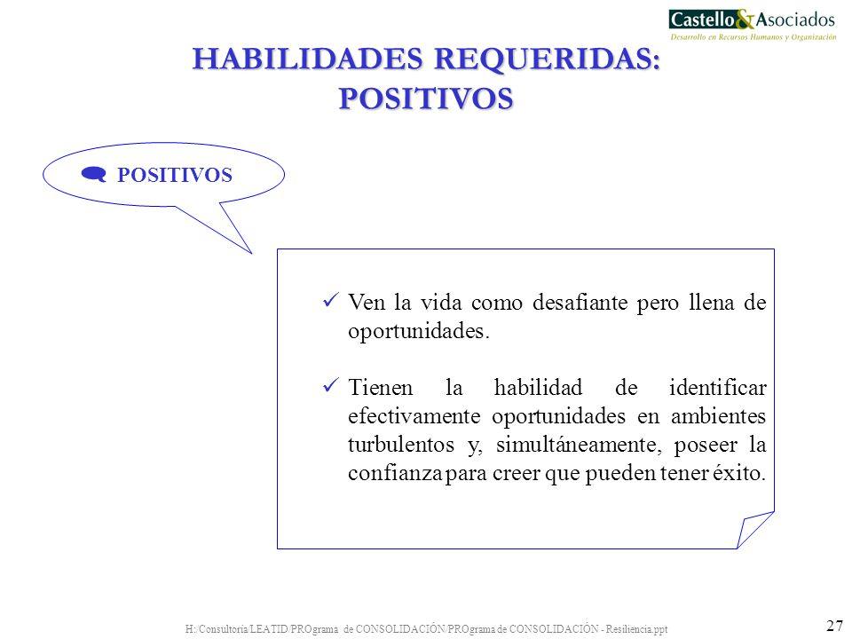 H:/Consultoría/LEATID/PROgrama de CONSOLIDACIÓN/PROgrama de CONSOLIDACIÓN - Resiliencia.ppt 27 Ven la vida como desafiante pero llena de oportunidades