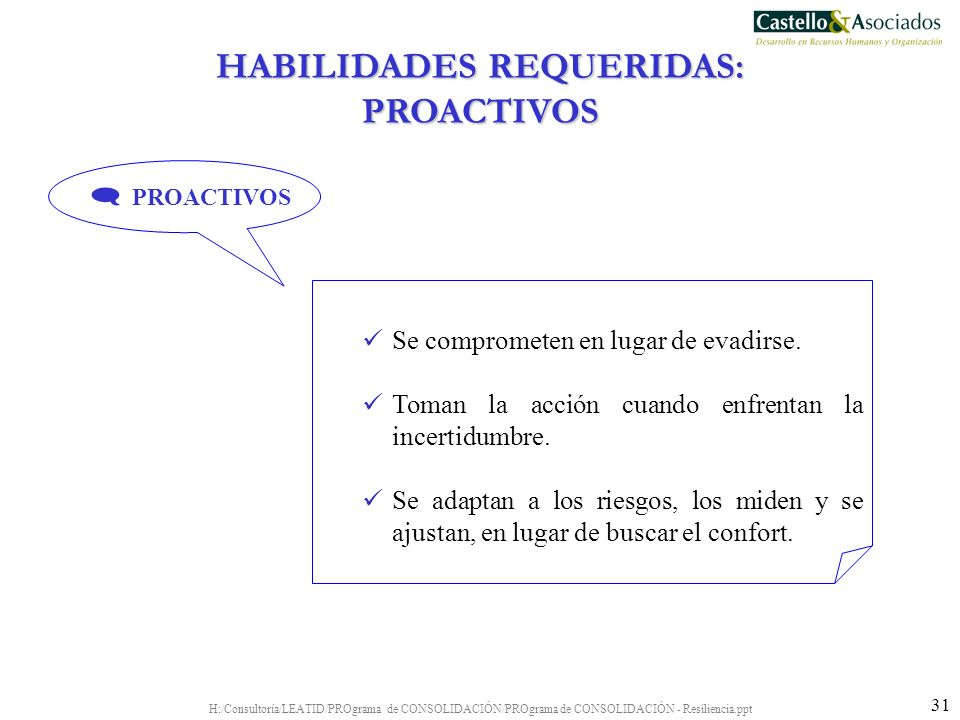 H:/Consultoría/LEATID/PROgrama de CONSOLIDACIÓN/PROgrama de CONSOLIDACIÓN - Resiliencia.ppt 31 Se comprometen en lugar de evadirse. Toman la acción cu