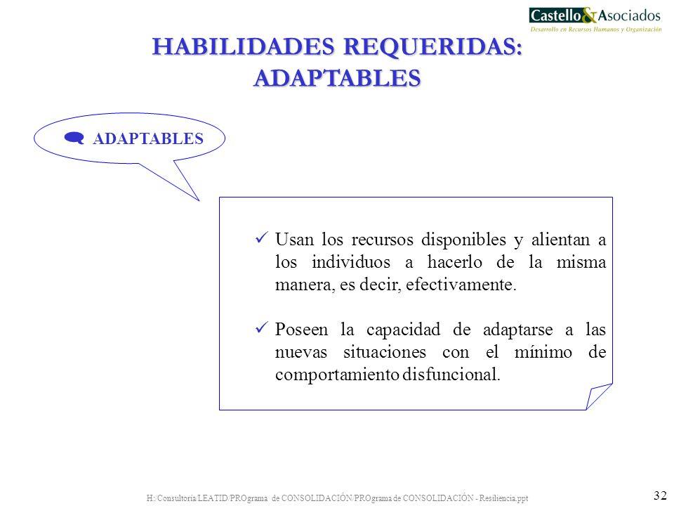 H:/Consultoría/LEATID/PROgrama de CONSOLIDACIÓN/PROgrama de CONSOLIDACIÓN - Resiliencia.ppt 32 Usan los recursos disponibles y alientan a los individu