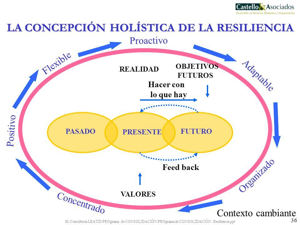 H:/Consultoría/LEATID/PROgrama de CONSOLIDACIÓN/PROgrama de CONSOLIDACIÓN - Resiliencia.ppt 36 Contexto cambiante PRESENTE PASADOFUTURO REALIDAD OBJET