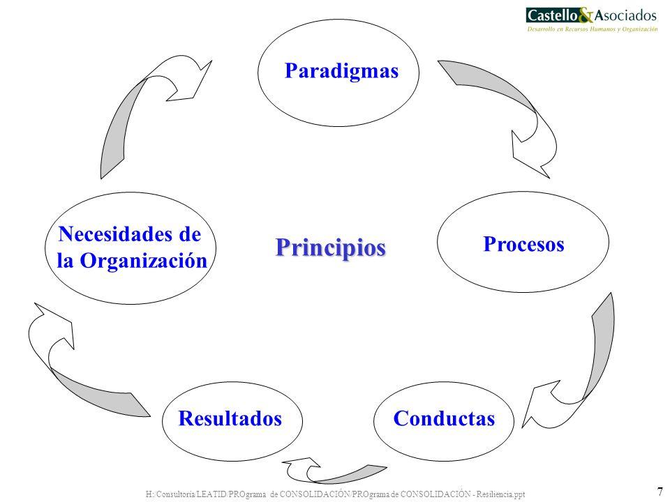 H:/Consultoría/LEATID/PROgrama de CONSOLIDACIÓN/PROgrama de CONSOLIDACIÓN - Resiliencia.ppt 7 Paradigmas Necesidades de la Organización Conductas Proc