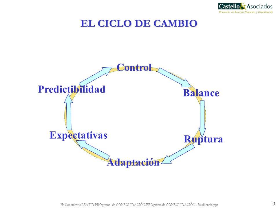 H:/Consultoría/LEATID/PROgrama de CONSOLIDACIÓN/PROgrama de CONSOLIDACIÓN - Resiliencia.ppt 9 Expectativas Balance Adaptación Control Predictibilidad