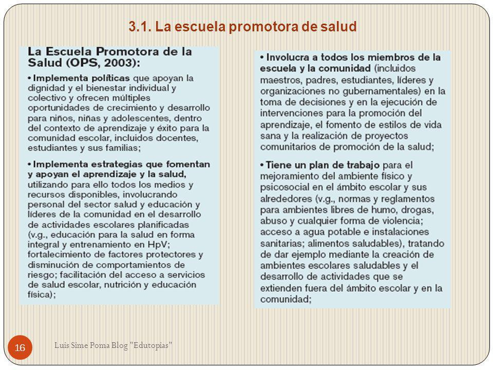 3.1. La escuela promotora de salud 16 Luis Sime Poma Blog