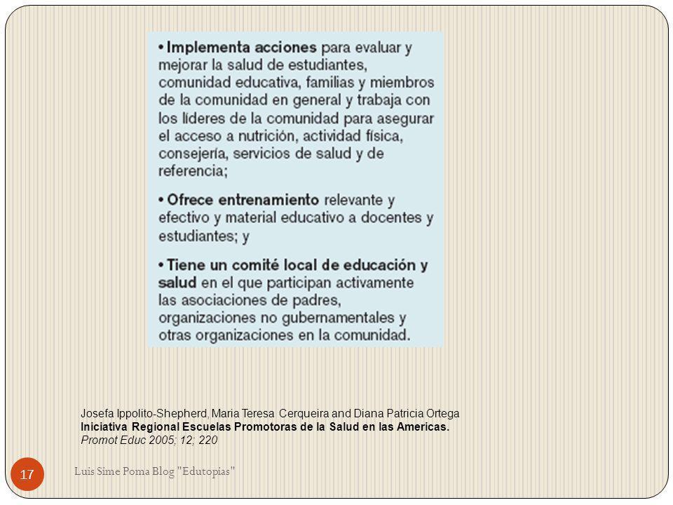 Josefa Ippolito-Shepherd, Maria Teresa Cerqueira and Diana Patricia Ortega Iniciativa Regional Escuelas Promotoras de la Salud en las Americas. Promot