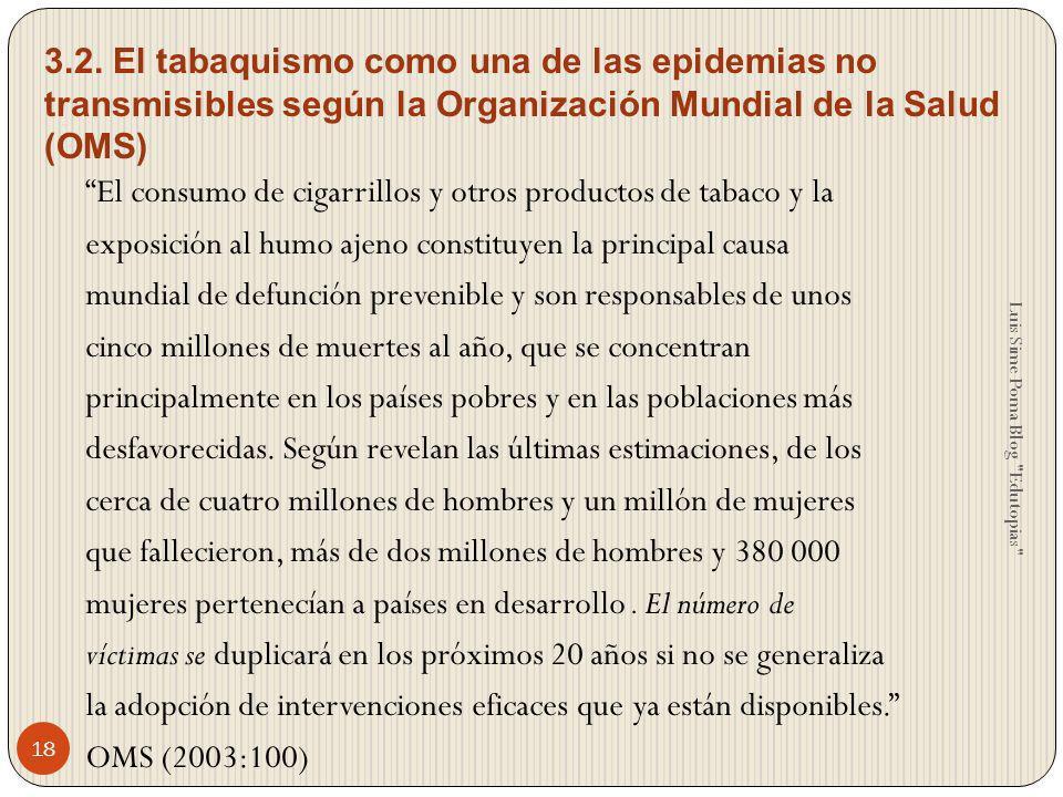 El consumo de cigarrillos y otros productos de tabaco y la exposición al humo ajeno constituyen la principal causa mundial de defunción prevenible y s