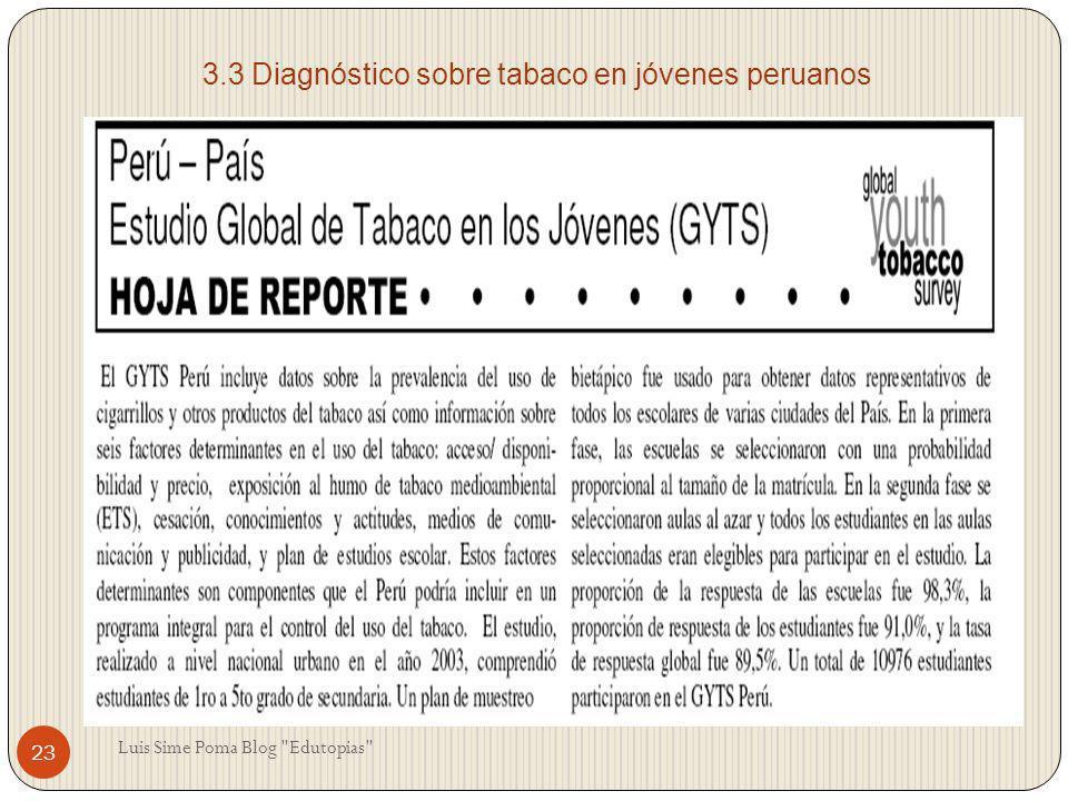 3.3 Diagnóstico sobre tabaco en jóvenes peruanos 23 Luis Sime Poma Blog