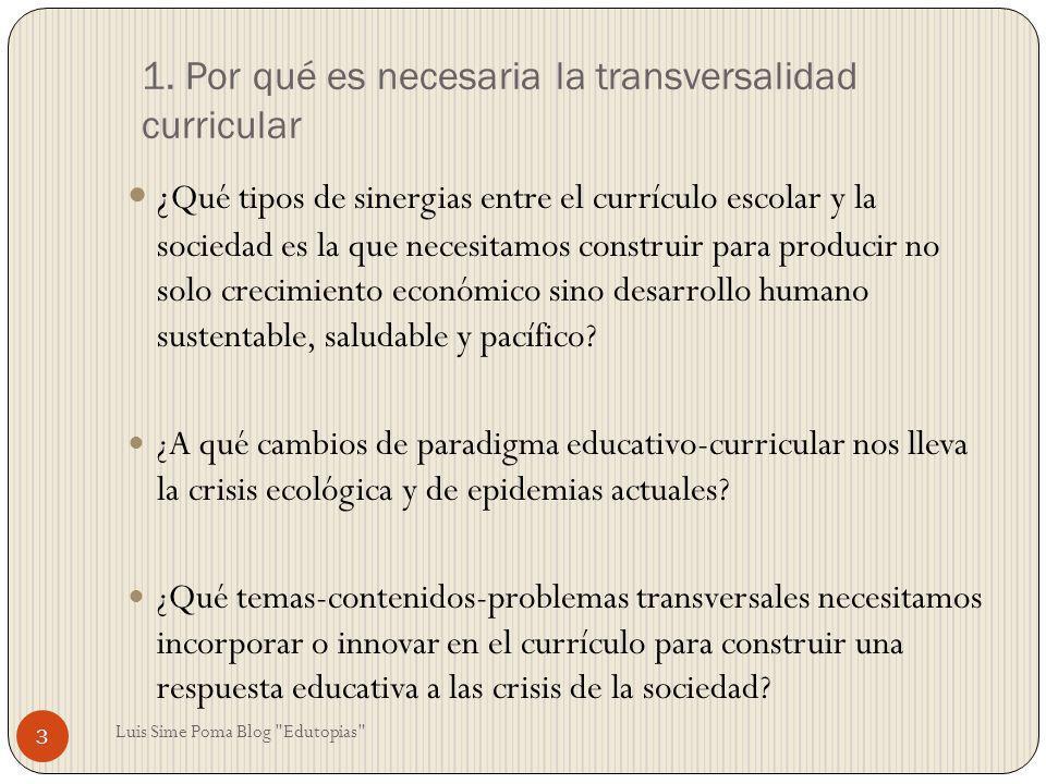 1. Por qué es necesaria la transversalidad curricular ¿ Qué tipos de sinergias entre el currículo escolar y la sociedad es la que necesitamos construi