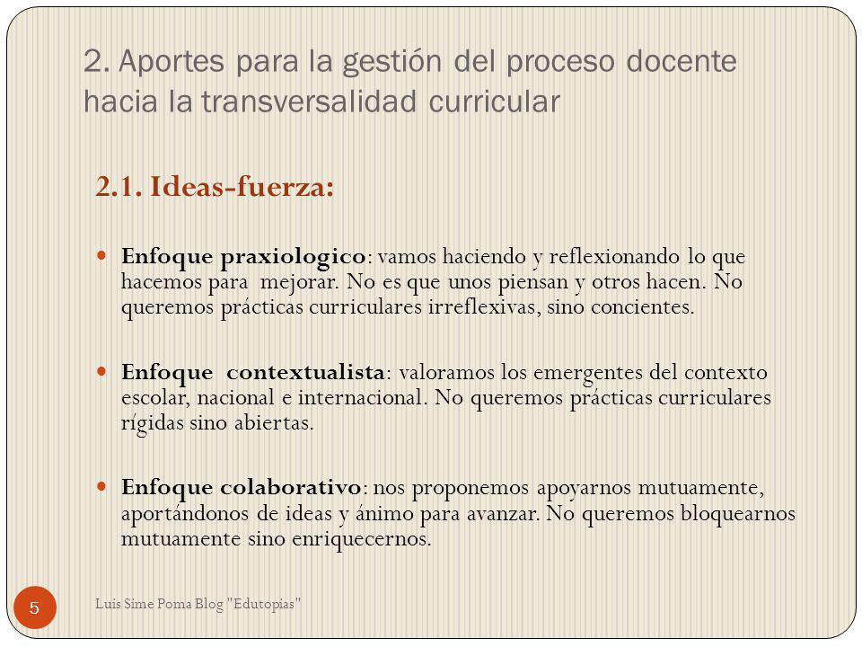 2. Aportes para la gestión del proceso docente hacia la transversalidad curricular 2.1. Ideas-fuerza: Enfoque praxiologico: vamos haciendo y reflexion