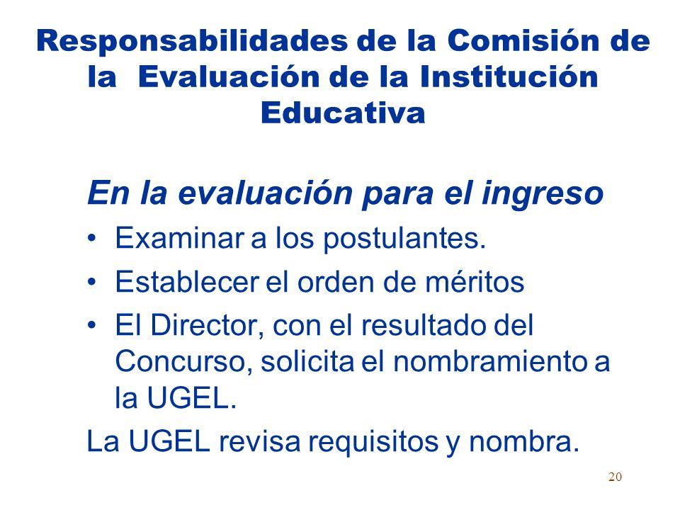 19 Composición de la Comisión de Evaluación en la Institución Educativa COMISIÓN DE EVALUACIÓN Director preside Coordinador Académico del Área Profeso