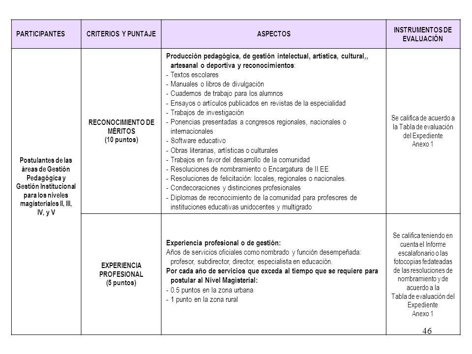 45 EVALUACION DE LA FORMACIÓN, RECONOCIMIENTO DE MÉRITOS, EXPERIENCIA Y DESEMPEÑO PROFESIONAL PARA LOS POSTULANTES CLASIFICADOS (40 puntos) II ETAPA P